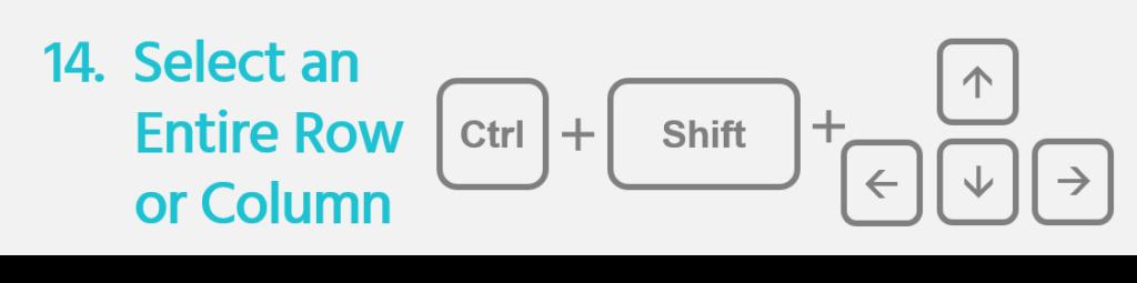 Select Row or Column Ctrl+Shift+Arrow