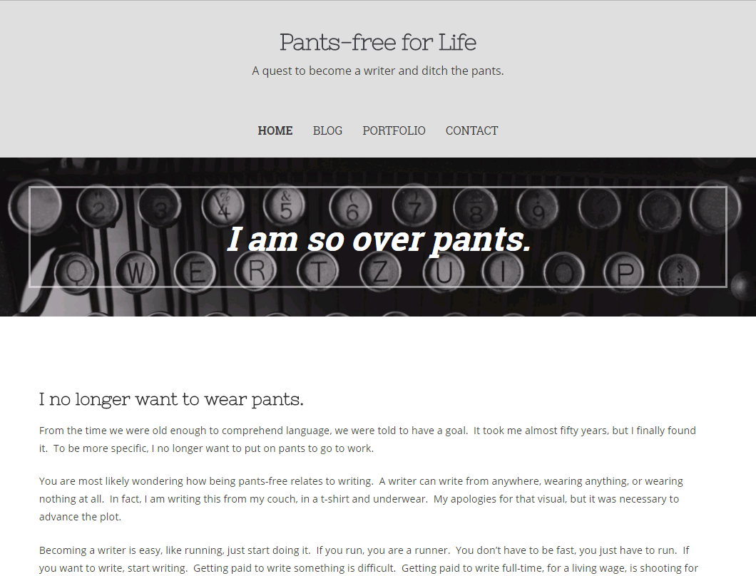 Pants-free for Life homepage screenshot